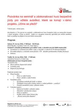 Pozvánka na seminář a zdokonalovací kurz bezpečné jízdy pro