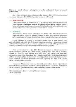 Informace o novele zákona o přestupcích ve vztahu k zákonnosti