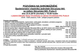 pozvánce - Členská schůze BD Slévačská 905 se koná 2.6.2015!