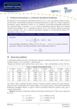 I Výběrová kovariance a výběrový korelační koeficient II Ilustrační