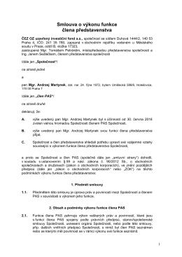Návrh smlouvy o výkonu funkce člena PAS - Andrzej