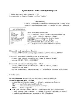 Rychlý návod – Auto Tracking kamery G70 - HTV