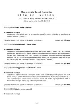 Usnesení RM 13/2016