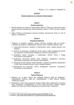 Statut Národní platformy pro snižování rizika katastrof
