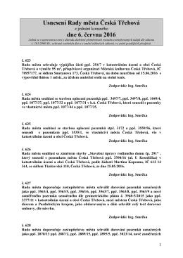 Usnesení Rady města Česká Třebová z jednání konaného dne 6