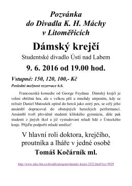 Pozvánka do divadla K. H. Máchy v Litoměřicích