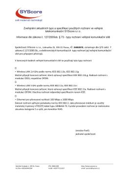 Informace dle zákona 127/2005sb.
