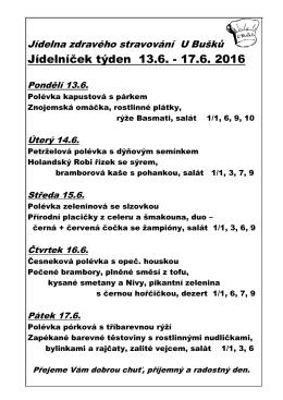 Jídelníček týden 6.6. - 10.6. 2016 - Pí centrum, Radostný život Hranice