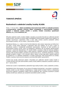 Rozhodnutí o odebrání značky kvality KLASA
