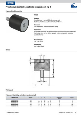 Datový list K0568 Pryžokovové silentbloky, ocel nebo nerezová ocel