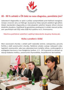 85 - 90 % celiaků v ČR čeká na svou diagnózu, pomůžete jim?