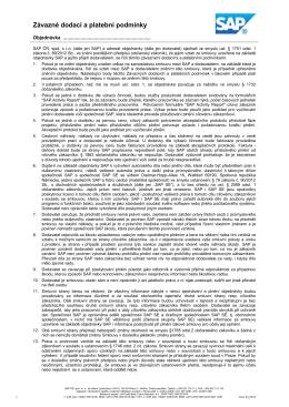 Závazné dodací a platební podmínky
