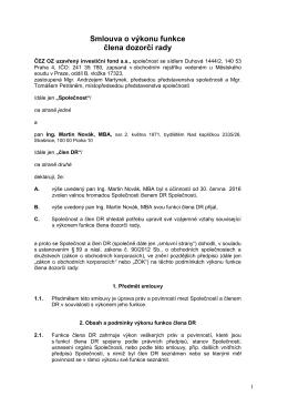 Návrh smlouvy o výkonu funkce člena DR - Martin Novák