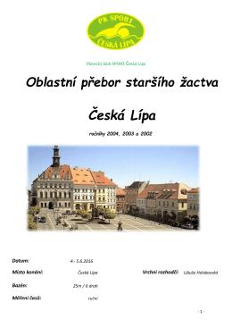 Oblastní přebor staršího žactva Česká Lípa