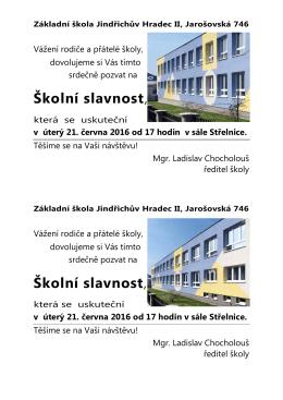 pozvánka - Základní škola Jindřichův Hradec II