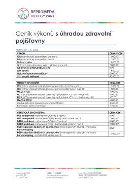 Ceník pro pacienty s úhradou ZP na území ČR