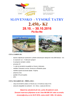 2.450,- Kč - CK Vesna Tours