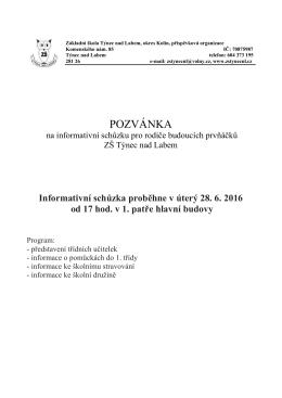 pozvánka - ZŠ Týnec nad Labem