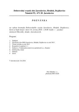 Pozvánka na valnou hromadu DSO Jaroslavice