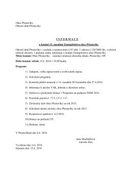 Informace o konání 15. zasedání ZO dne 15.6.2016