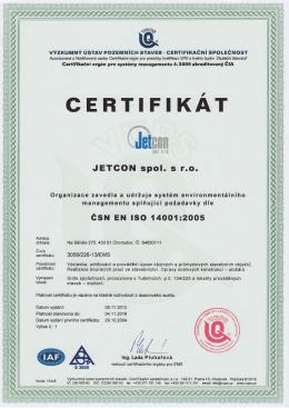 certifikát - JETCON spol. s ro