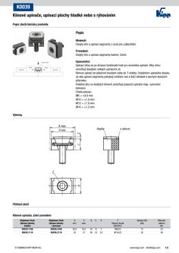 Datový list K0039 Klínové upínače, upínací plochy hladké nebo s