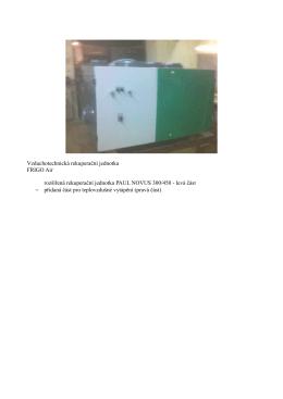Vzduchotechnická rekuperační jednotka FRIGO Air rozšířená