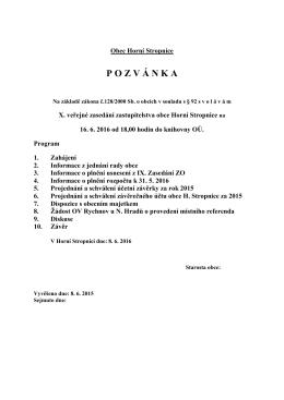 Pozvánka na X veřejné zasedání ZO H. Stropnice