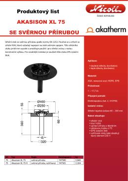 Produktový list AKASISON XL 75 SE SVĚRNOU PŘÍRUBOU