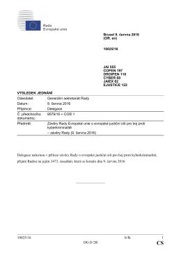 10025/16 lr/lk 1 DG D 2B Delegace naleznou v příloze závěry Rady