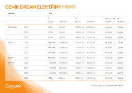 ceník dream elektřiny firmy
