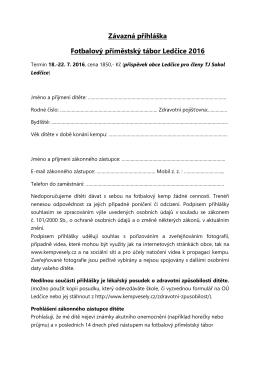 Přihláška na příměstský tábor Ledčice