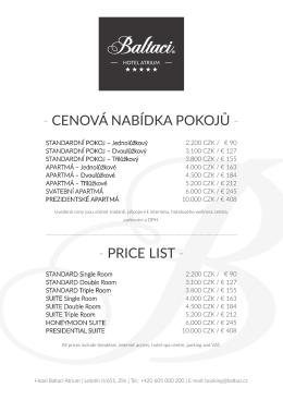 cenová nabídka pokojů - - price list
