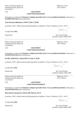 Ředitelství OZP - přehled o platbě pojistného zaměstnavatele