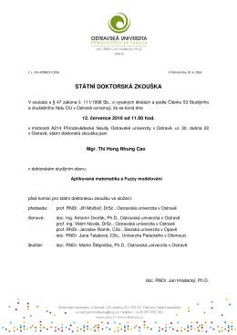 státní doktorská zkouška - Dokumenty