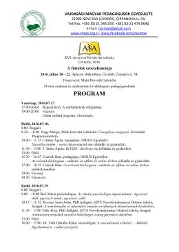 Osztályfőnöki program