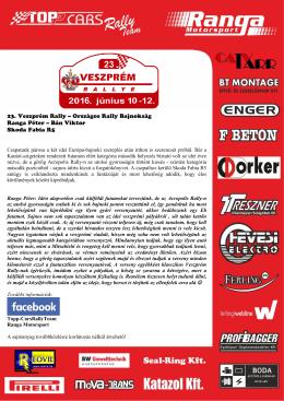 Újra hazai pályán! - Veszprém Rally