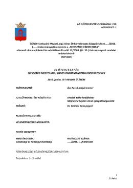 """2016. (…) önkormányzati rendelete a """"SZEKSZÁRD VÁROS BORA"""""""