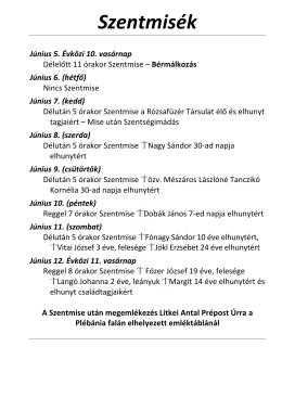 Szentmisék rendje (2016. június 05-12.)
