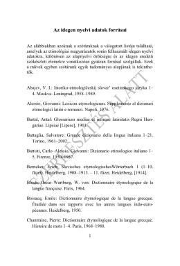 Az idegen nyelvi adatok forrásai