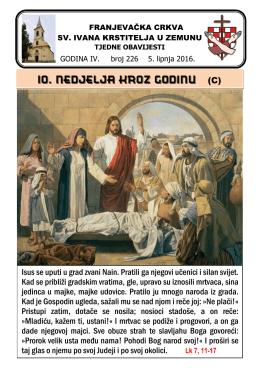 Tjedni listić br. 226 - samostan sv. ivana krstitelja zemun
