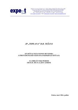 Izvještaj nezavisnog revizora o provedenoj reviziji