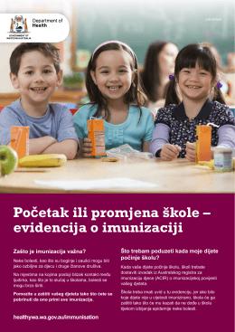 Početak ili promjena škole – evidencija o imunizaciji