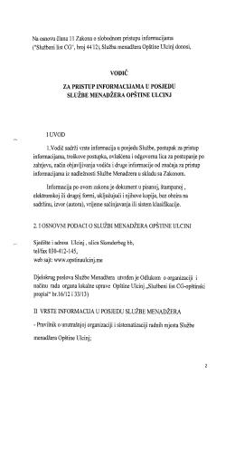 SluZbeni list CGH, broj 44/12), SluZba menadzera Opstine Ulc