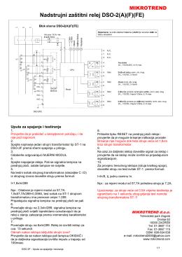 Nadstrujni zaštitni relej DSO-2(A)(F)(FE)