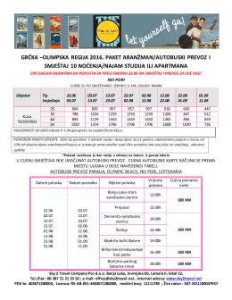 grčka –olimpska regija 2016. paket aranžman/autobuski