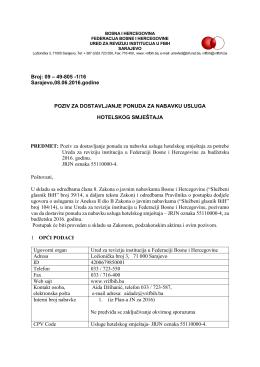 9.6.2016 Poziv za dostavljanje ponuda hotelski smještaj za 2016