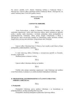Poslovnik o radu Udruženja - Udruženje tužilaca Federacije BiH
