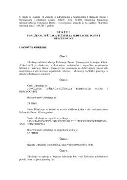 Statut Udruženja - Udruženje tužilaca Federacije BiH