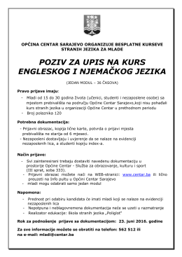 poziv za upis na kurs engleskog i njemačkog jezika